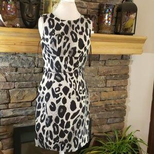 ANN TAYLOR ANIMAL PRINT Silk Mix DRESS SZ 8